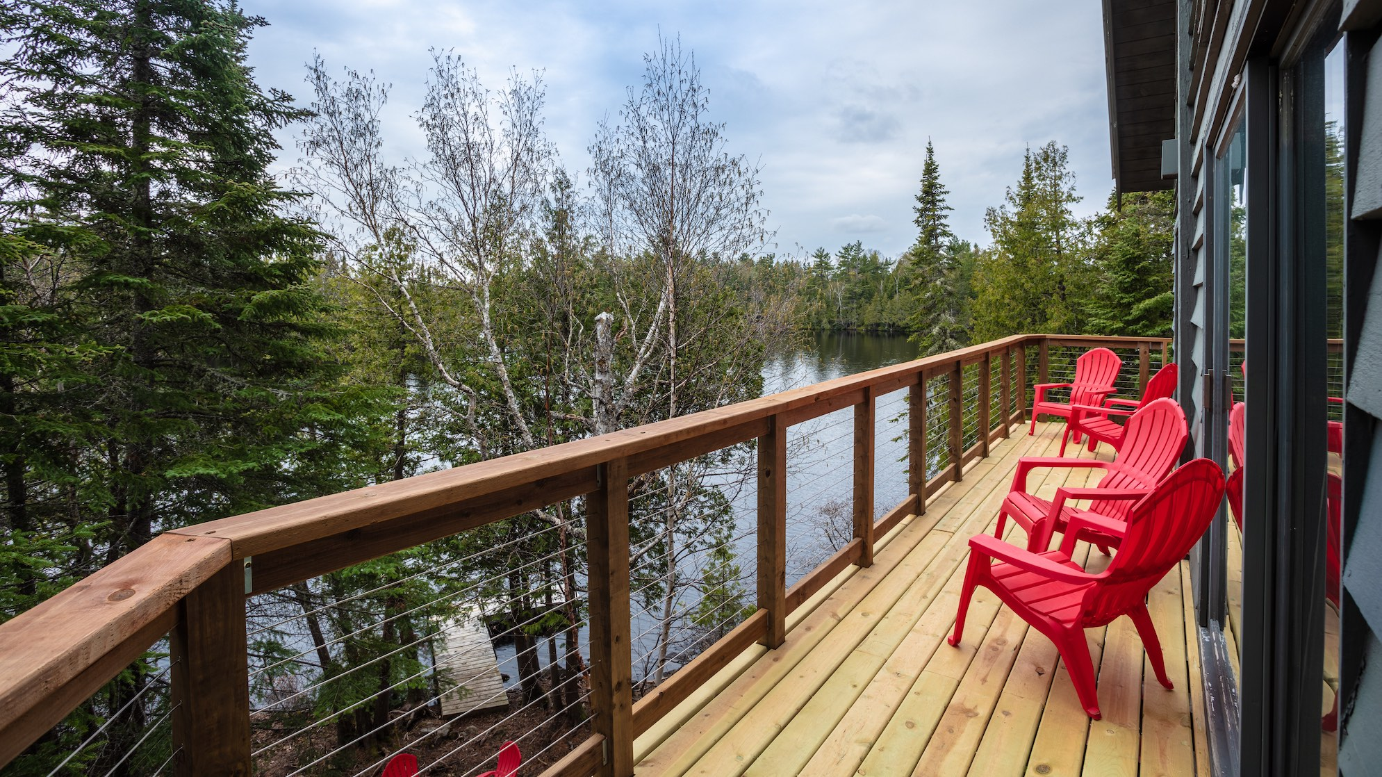 Cabin 12 deck and view of Poplar Lake - Rockwood Lodge and Outfitters
